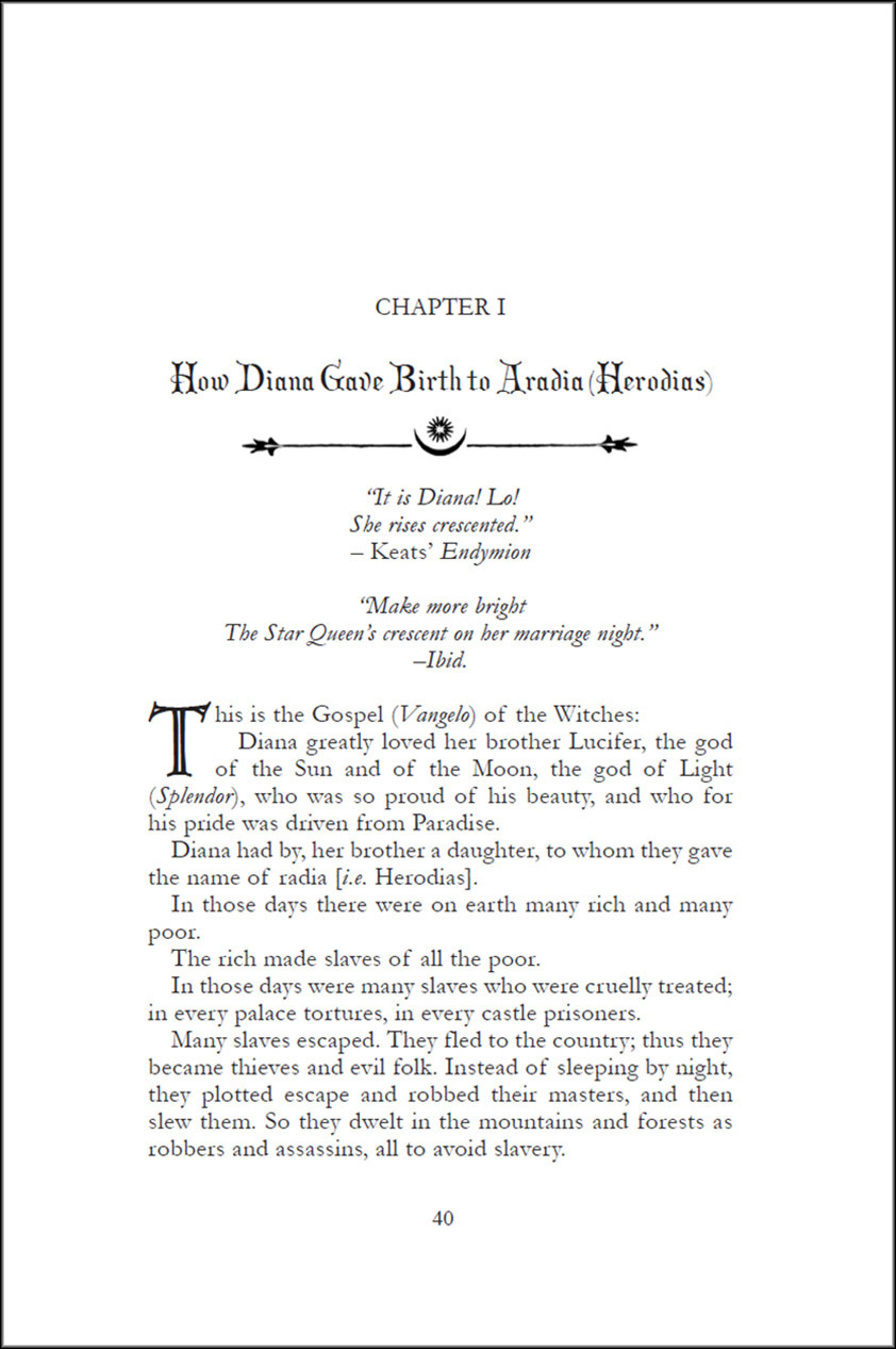 Aradia or The Gospel of the Witches - Hardback Edition page sample